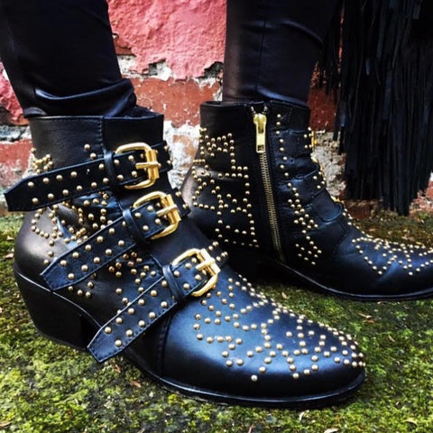 Soho Stud Boot - Black-Shoes-jfahristore