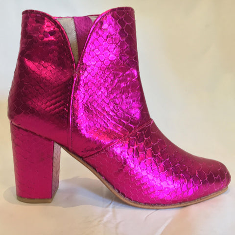 The Joey Snakeskin Metallic Boots - Neon Pink