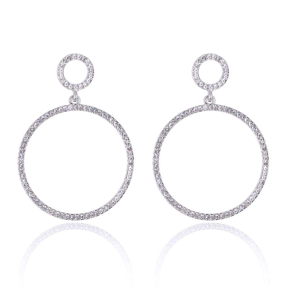 Round Hoop Circle Small Diamante Earring