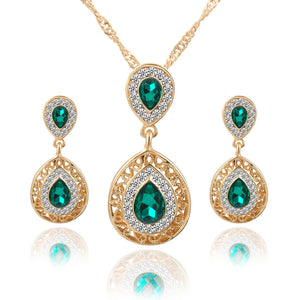 Charm Crystal Tear Drop Pendant Necklace With Earrings