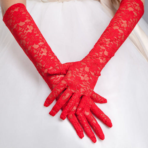Long Elbow Length Lace Red White Party Bridal Wedding Gloves