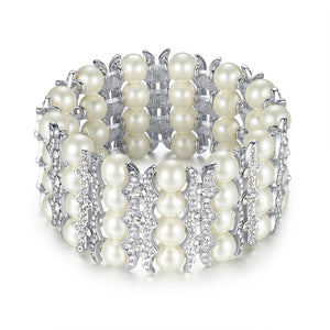 Charm Pearl Bridal Elasticity Bracelet & Bangles with Crystal Stones