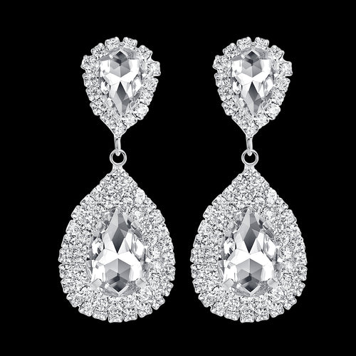 Clear Crystal Tear Drop Earrings Bridal Party Wedding Jewellery