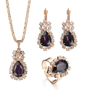 Tear Drop Shape Locket Necklace Pendant With Ring & Earring Gold