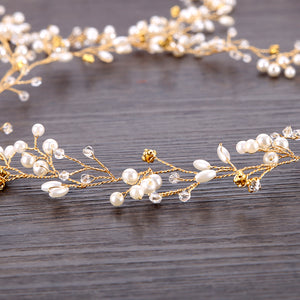 Pearl Wedding Long Headband Tiara Bridal Hair Jewellery