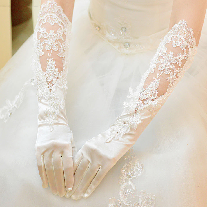 Long Elbow Length Satin Lace Wedding Glove