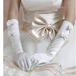 Elegant Ivory Satin Bridal Gloves with Two Bows Elbow Length