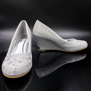 Closed Toe Wedge With Pearls & Diamante