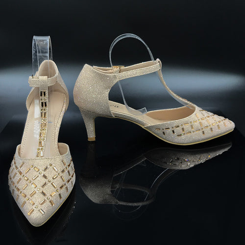 Closed Toe Pointy Diamante Shoe With Strap