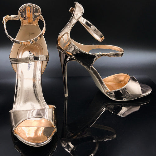 High Heel Metallic Smooth & Shiny With Straps