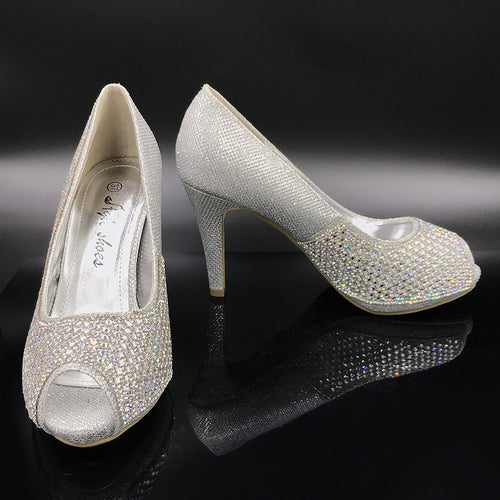 Peep Toe Diamanté High Heel Shoe