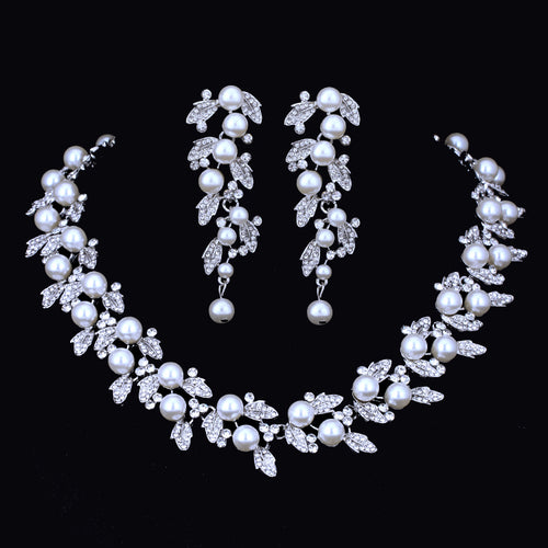 Pearl Floral Necklace With Pearl Drop Earrings Wedding Bridal Set