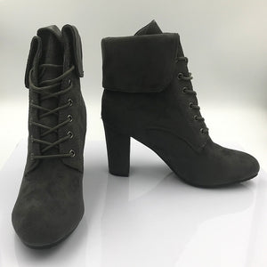 Block Heel Boots With Laces Mid High Top