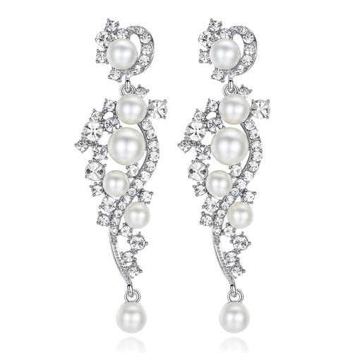 Luxury Pearl Crystal Pendants Drop Earrings