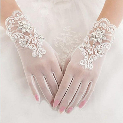 Ivory Finger Bridal Gloves Elastic Tulle Wedding Gloves Sparkly Crystals Beads Sequins Short Wedding Gloves