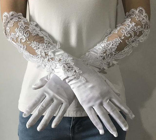 Wedding Bridal Gloves Elastic Satin Lace Long Finger White With Sequins