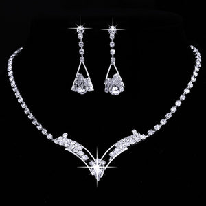 Crystal Necklace Set V Shaped Rhinestone With Earrings Party & Bridal Set Women Sparkling