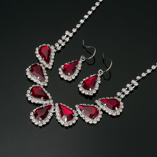 Sparkling Rhinestone Crystal Necklace Earrings Set Charm Jewellery
