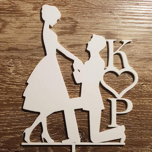 Kneeling Proposal with Initials Cake Topper