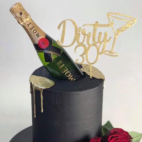 Dirty Thirty with Martini Glass Cake Topper
