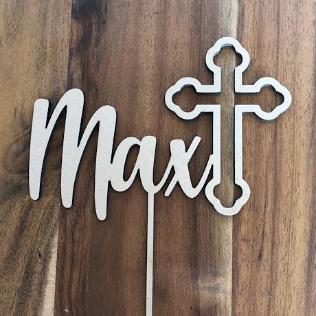 Cross with Name Cake Topper