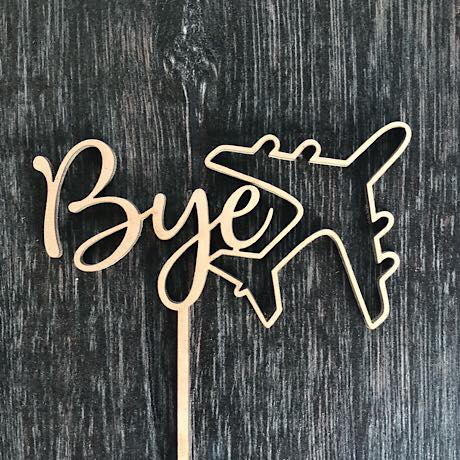 Bye with Plane Cake Topper