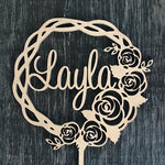 Rose wreath with Name Cake Topper