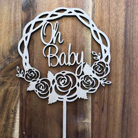 Oh baby in Rose Wreath Cake Topper