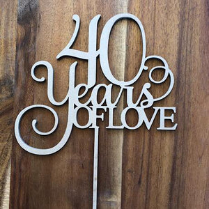 40 Years of Love Cake Topper