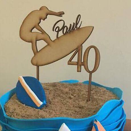 Surfer with Name and Age Cake Topper