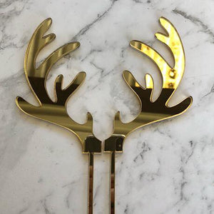 2 x Single Reindeer Antlers Cake Topper