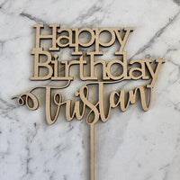 Happy Birthday with Name Cake Topper