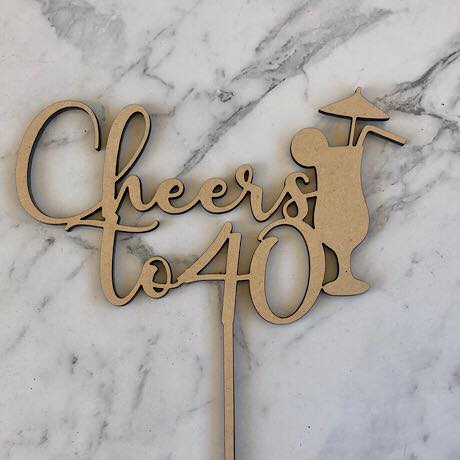 Cheers to 40 with Cocktail Cake Topper