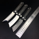 Tanto Style Folding Blade Knife - D2 Blade and Damascus Steel - wildernesssurvivallife