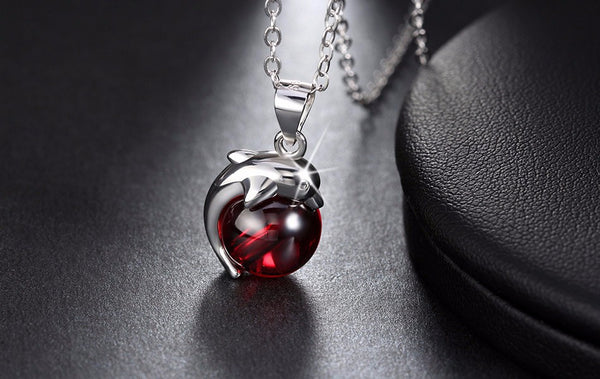 Natrual Red Stone Dolphin Pendant with Genuine 925 Sterling Silver Necklaces