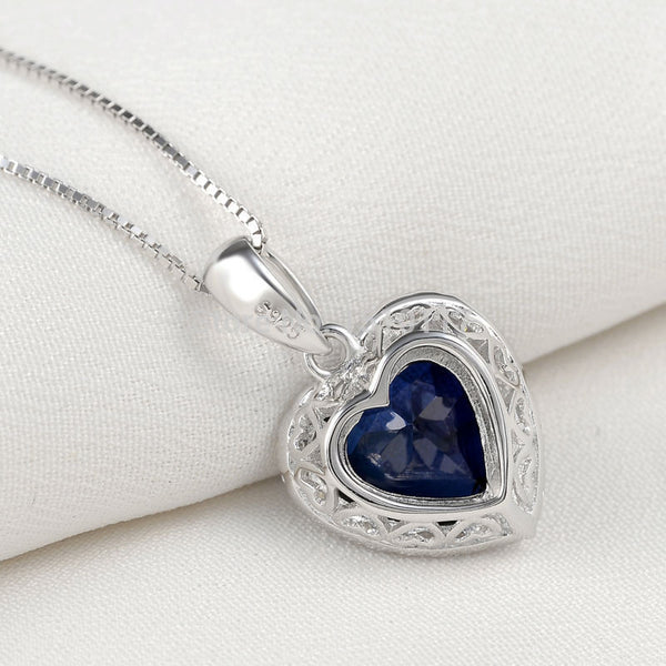 4 Ct Classic Blue Ocean Heart Pendant Solid 925 Sterling Silver 18 Inches Chain