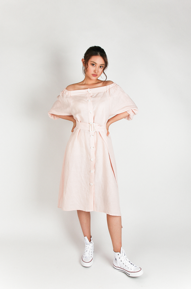 OLIVIA NZ Store online | Charlotte Linen Button Down Dress / Pink