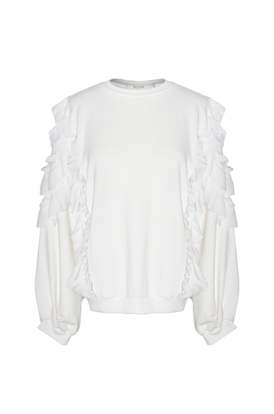 OLIVIA NZ Store online | Crush Ruffle Sweatshirts / Cream - OLIVIA NZ