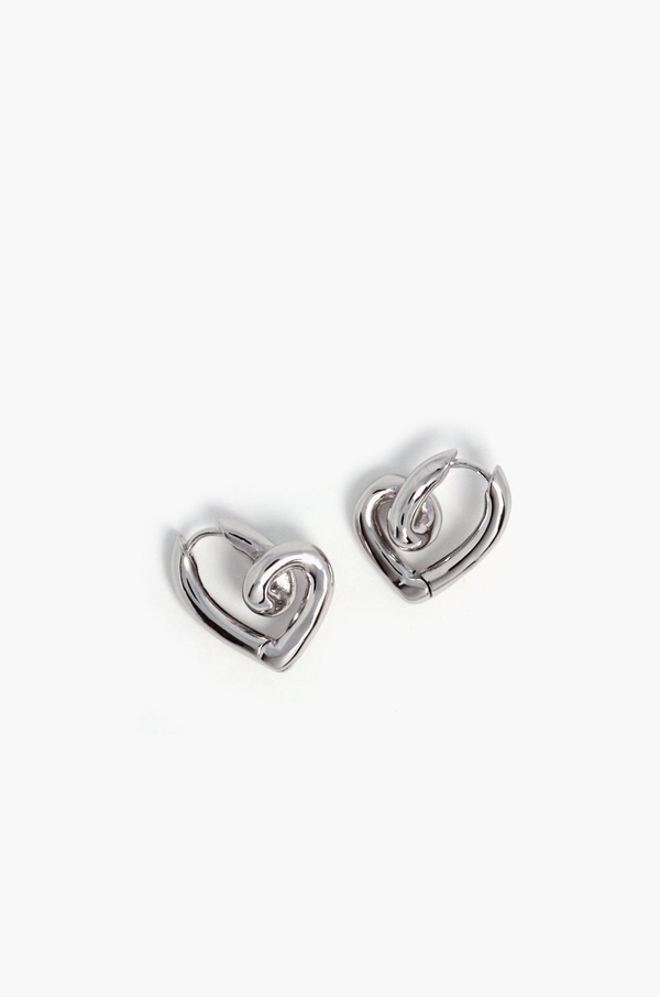 Winona Heart Hoop Earrings / Silver