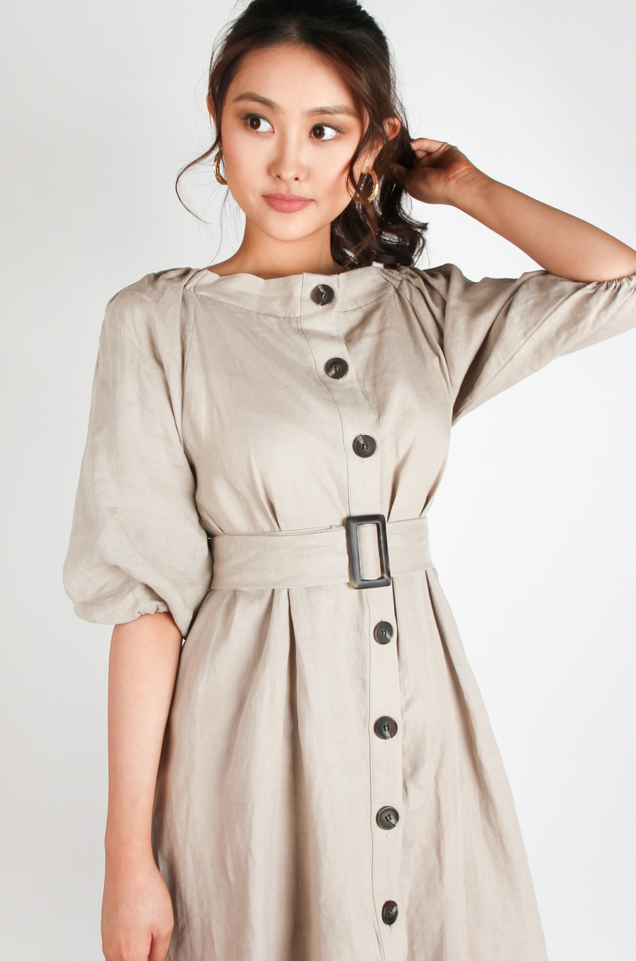 OLIVIA NZ Store online | Charlotte Linen Button Down Dress / Beige