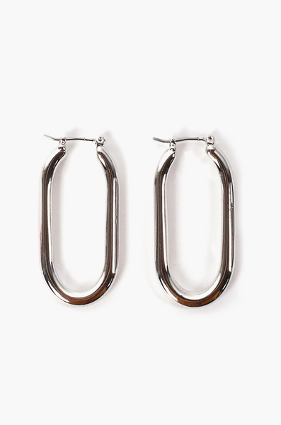 OLIVIA NZ Store online | Angelina Oval Earrings / Silver