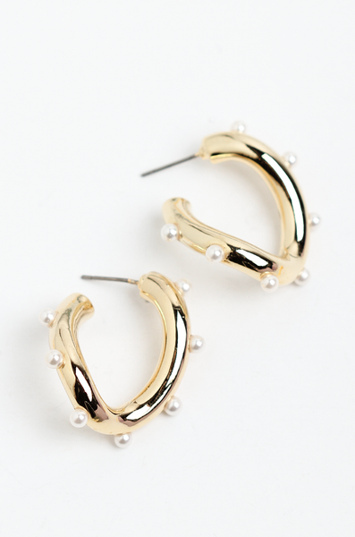 OLIVIA NZ Store online | Kimber Pearl Earrings / Gold