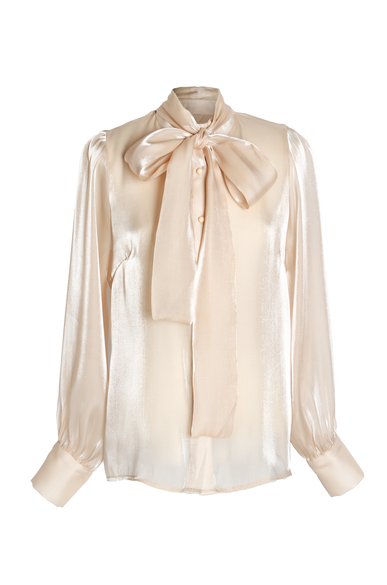 OLIVIA NZ Store online | Rendezvous Bow Blouse / Beige - OLIVIA NZ