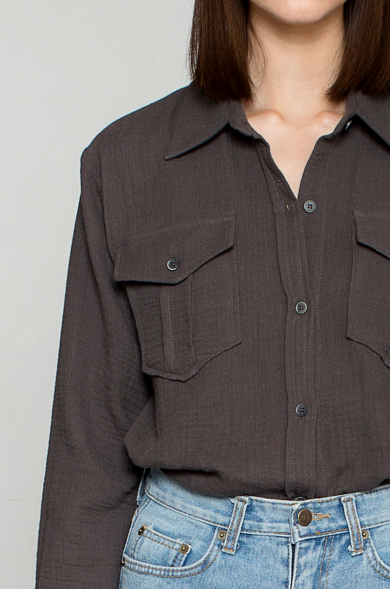 Muslin Pocket Shirts / Charcoal