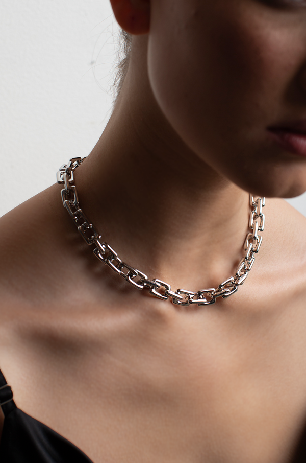Square Chain Necklace / Silver