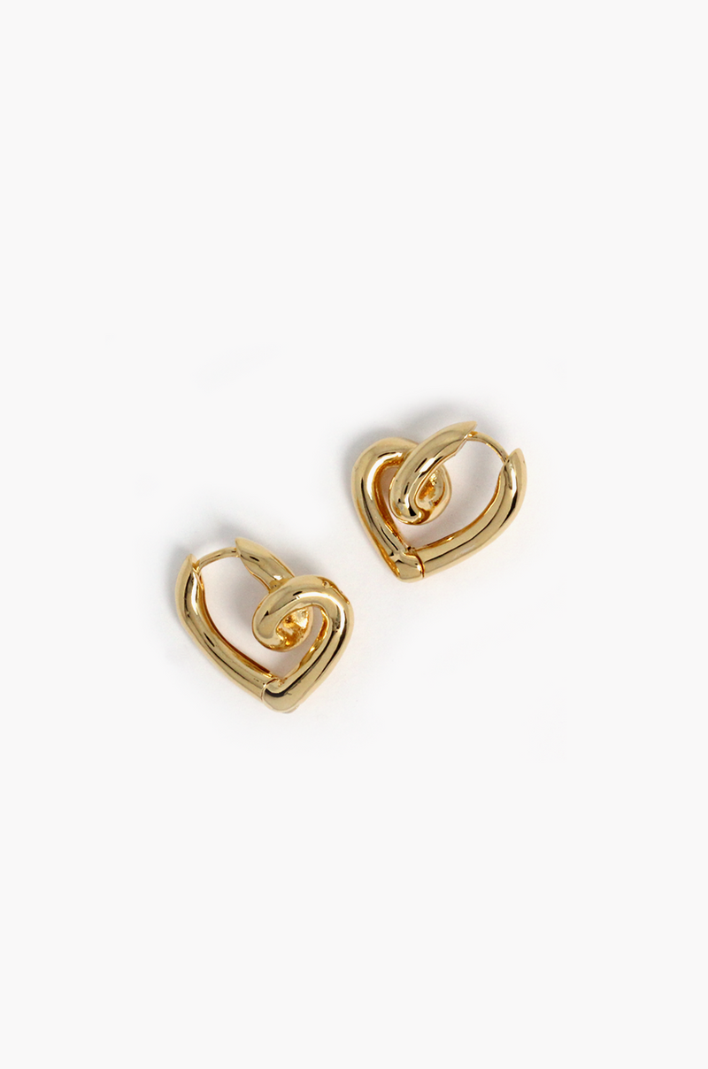 Winona Heart Hoop Earrings / Gold