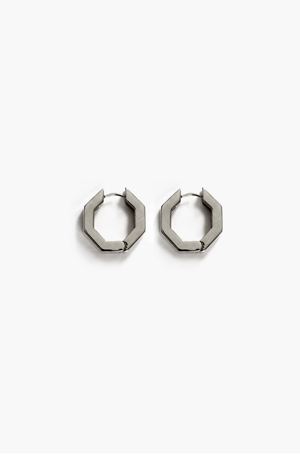Hexagon Hoop Earrings / Silver