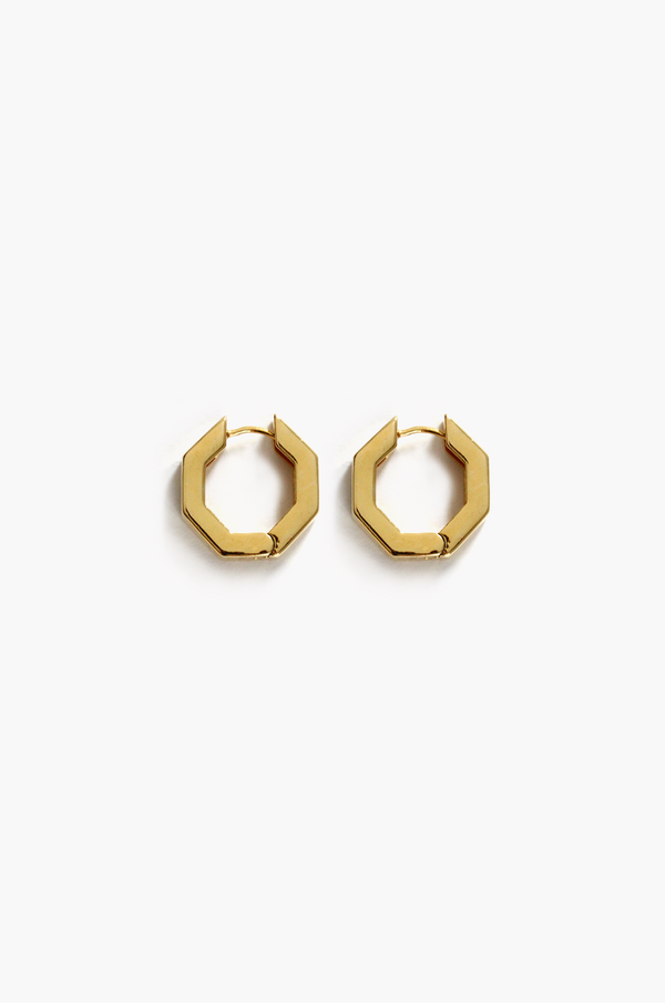 Hexagon Hoop Earrings / Gold