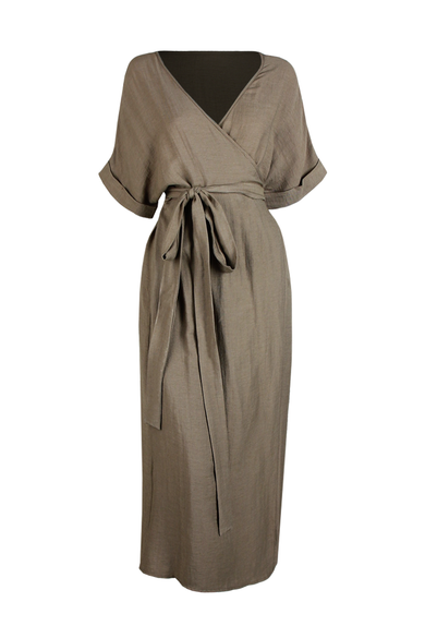 OLIVIA NZ Store online | Mariana Wrap Dress / Khaki - OLIVIA NZ