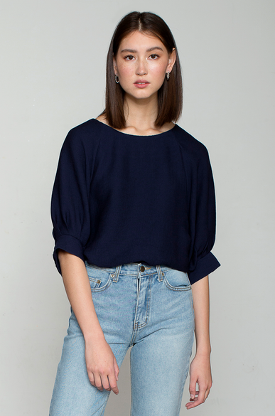 OLIVIA NZ Store online | Everlasting Pleates Blouse / Navy